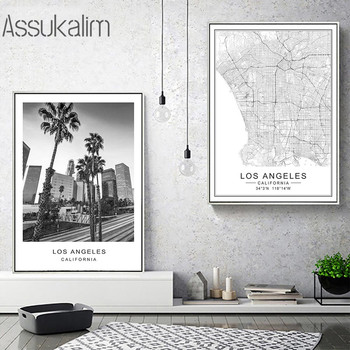 Los Angeles Cities Map Print Posters City Building Canvas Prints Latitude And Longitude Pictures Living Room Home Decoration image