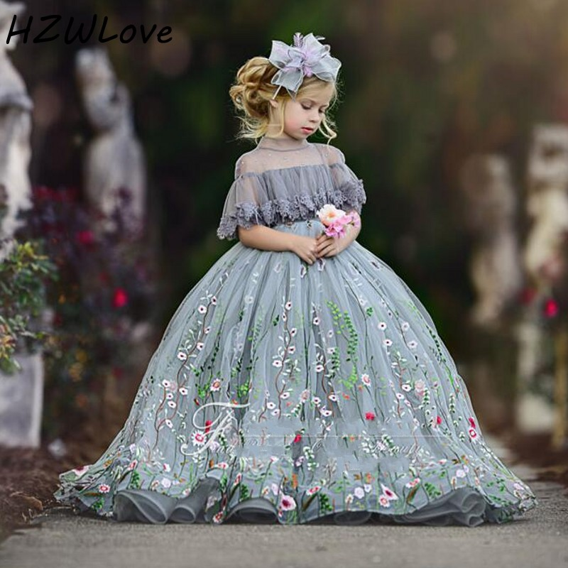 Ball Gown Flower Girl Dresses Lace Applique High Sheer Neck Girls Pageant Dress Short Sleeves Kids Birthday Party Vestidos