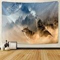 Животные волк гобелен фона психоделические настенные подвесные племенные животные листы волк гобелен домашний декор пляжный коврик