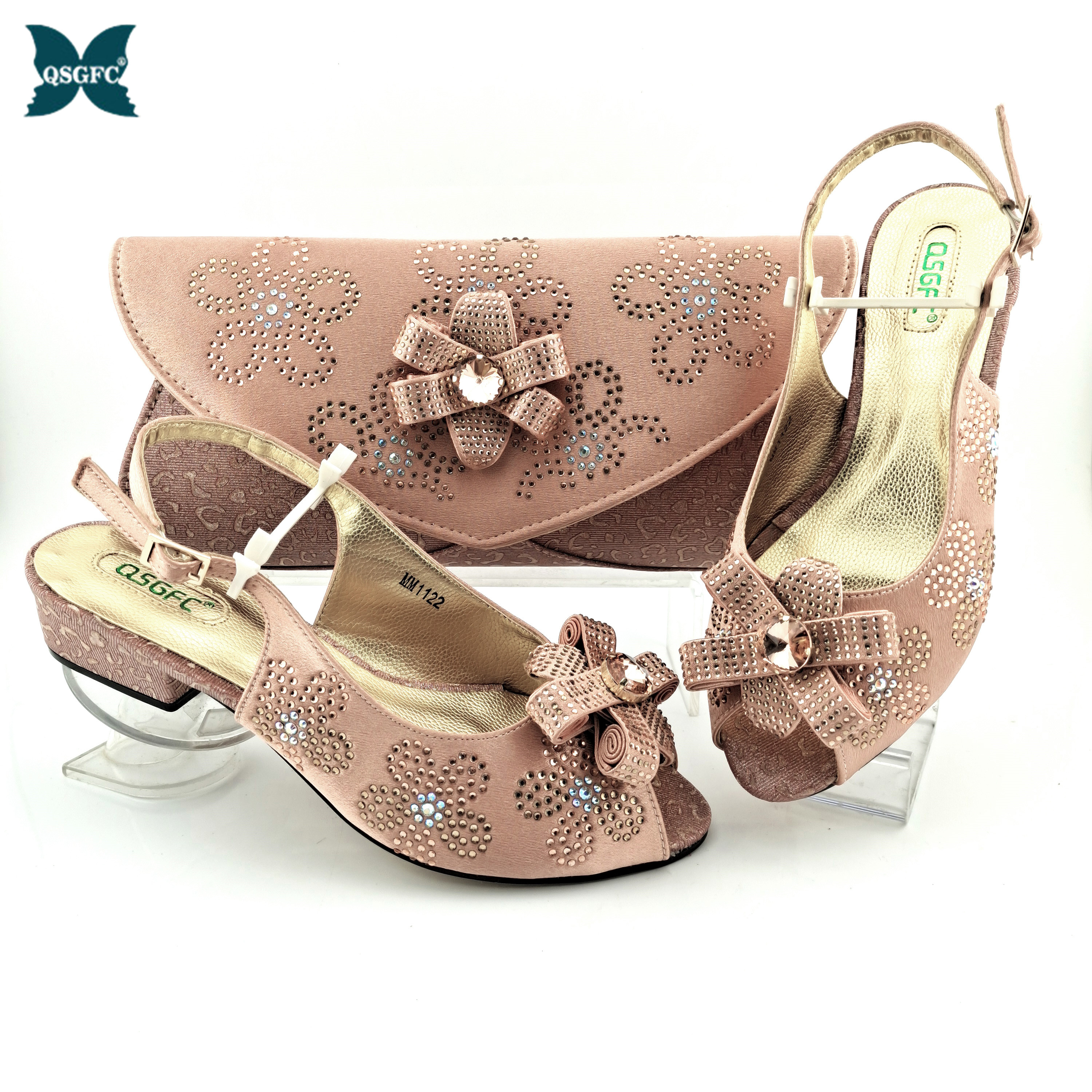 Italian Design 2021 New Arrival Summer African hot Selling Low Heels Ladies Shoes and Bag in Peach Color for Party