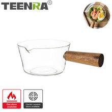 TEENRA 600ML Transparente Panela de Sopa de Vidro Anti-aderente Panelas Panela pote de Café Da Manhã Com Punho De Madeira Ferramenta