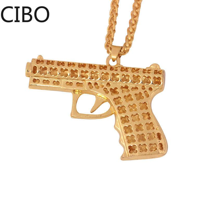 2019 nowy mężczyzna Iced Rhinestone HIP Hop 2PAC pistolet naszyjniki wisiorki złoty kolor stal nierdzewna Iced Out Bling Gun naszyjnik dla