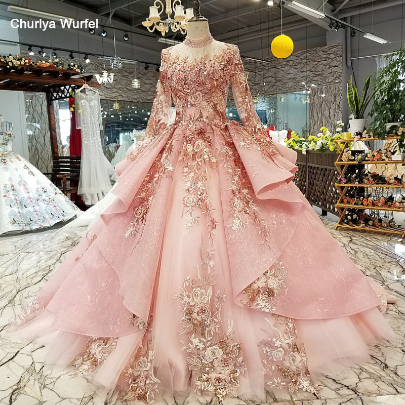 LS320400 Pink Special Dubai Puffy Party Dresses High Neck Long Tulle Sleeve Lace Up Back Evening Dresses Can Make For Muslim