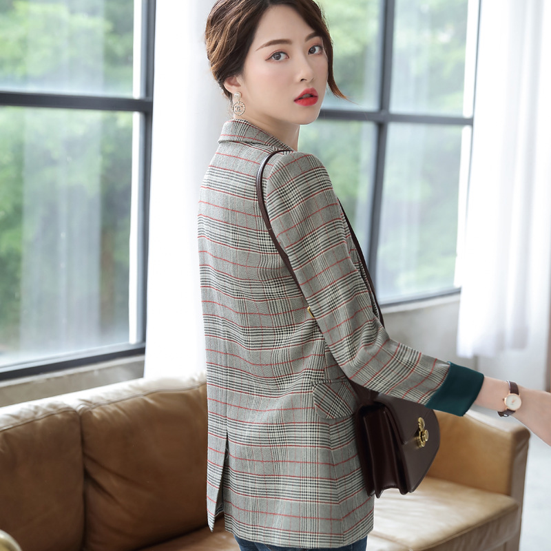 Stylish high quality checked women's blazer Feminine new jacket in spring and autumn 2020 Professional ladies small suit