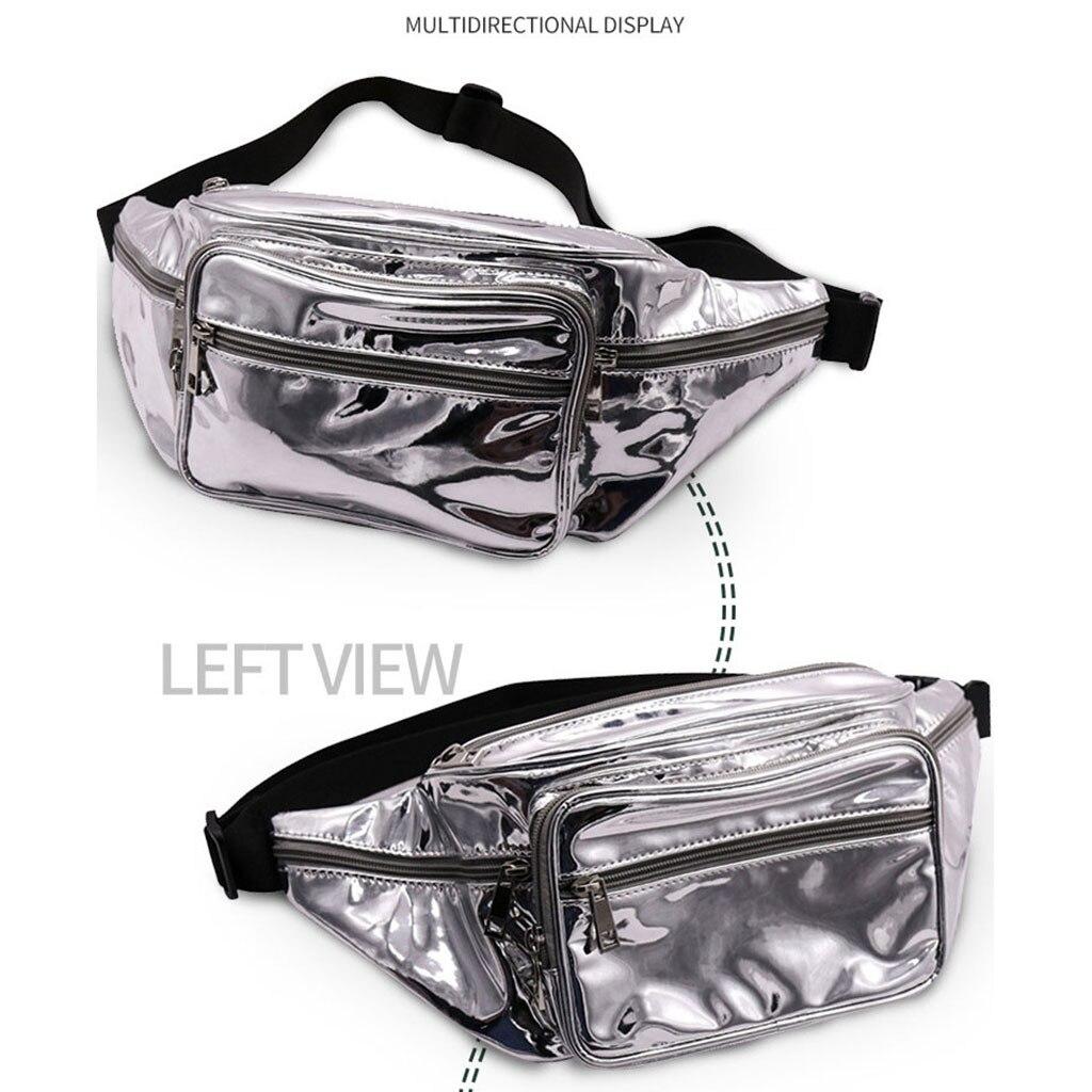 Silver Leather Waist Packs For Women Tactical Bum Waist Bag Female Phone Belts Pouch Hip Pop Pochete Homem Pocket 2020 Fashion
