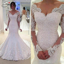 SERMENT Elegant Lace Mermaid Wedding Dress Full Floral Print Up Church Suitable for Africa Europe Americas Bride