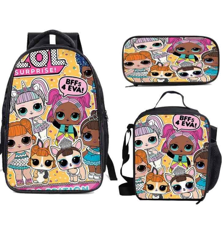L.O.L. ¡Sorpresa! 3 uds. Conjuntos de mochila escolar, bolsas de libros para niños, estampado de muñecos LOL, mochilas para niños y niñas adolescentes