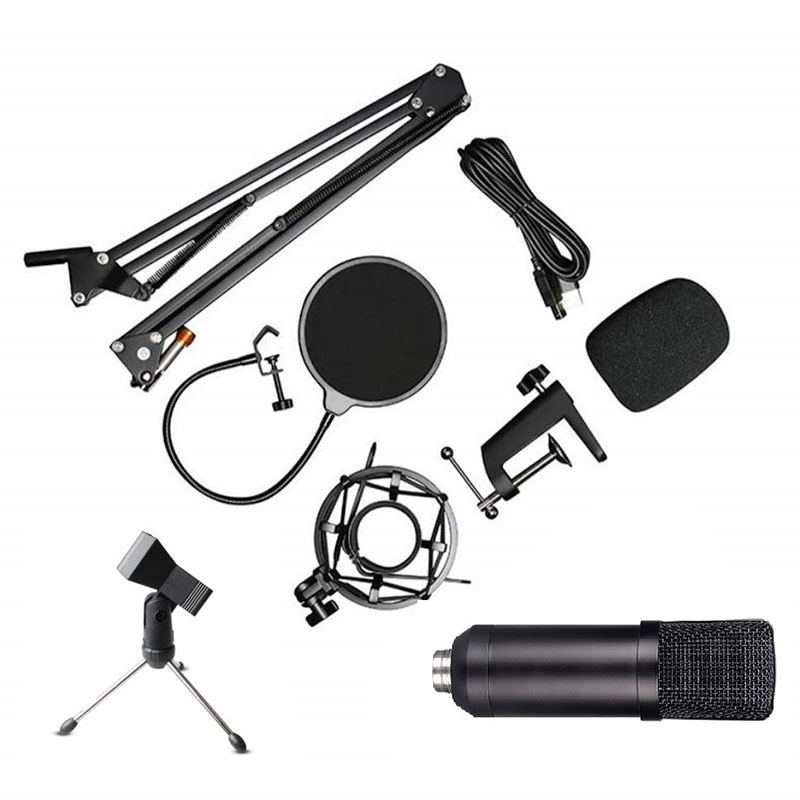 USB Microphone Condenser Mic Podcast Kit for Windows/Mac with Arm Stand Tripod USB Cable and Table Mounting Clamp Kit for Karaok|Microphone Accessories| |  - title=