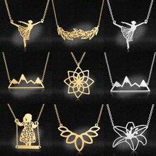 Colar com pingente de folha geométrica vni and mia, colar feminino de aço inoxidável com pingente de montanha, atacado de joias moda para mulheres 100%