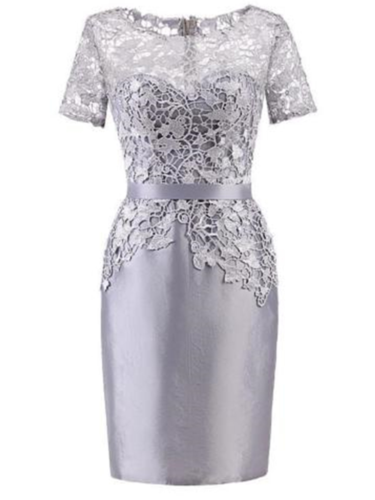 Short Silver Lace Mother Of The Bride Dress Wedding Party Guest Costume Short Sleeve Column Women Party Gown Actual Image