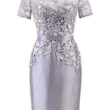 Short Silver Lace Mother of the Bride Dress
