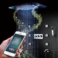 Bluetooth musique LED ensemble de douche cascade pluie douche salle de bain douche robinets mélangeur Massage 304 SUS douches grande eau