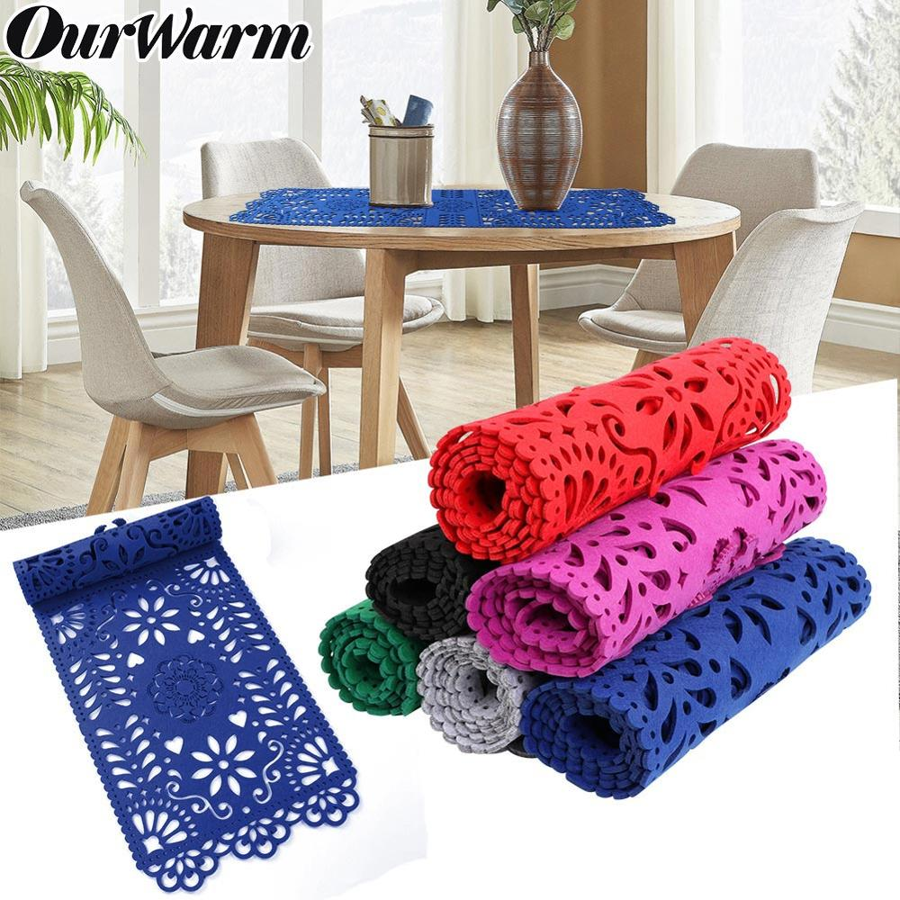 OurWarm Rectangle Felt Modern Table Runners For Weddings 30x100cm Hollow Out Table Cloth Cover Party Home Decoration  TV Cabinet