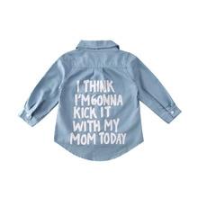 Детская зимняя одежда для маленьких девочек, синие джинсовые топы, рубашка с длинными рукавами и надписью, теплое пальто, рубашка