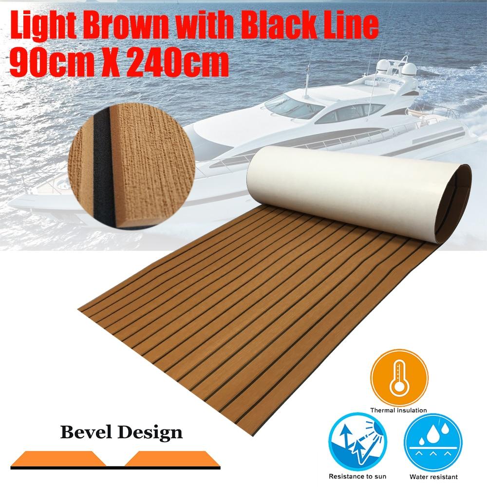 """Nouveau teck platelage feuille pour bateau Yacht Marine plancher tapis EVA 90cm240cm/35.4 """"94.5"""" bois marron en noir bateaux accessoires"""