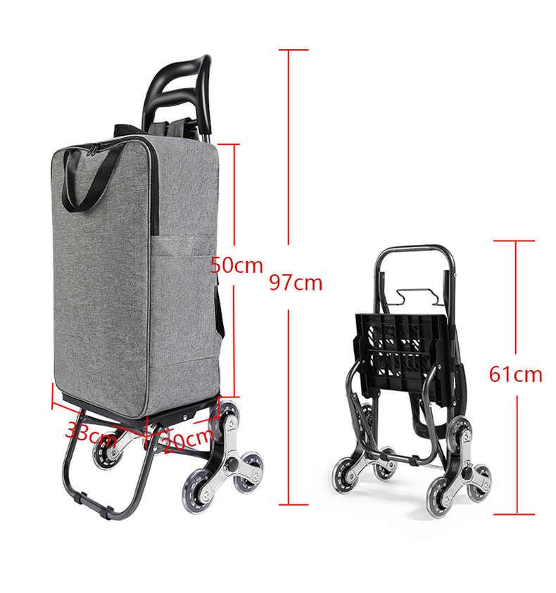 plegable reutilizable con ruedas port/átil bolsa de compras grande con ruedas Cesta de frutas para mujer