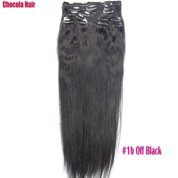 Chocola, бразильские волосы remy на всю голову, 10 шт. в наборе, 280 г, 16-28 дюймов, натуральные прямые человеческие волосы для наращивания на заколках - Цвет: # 1B