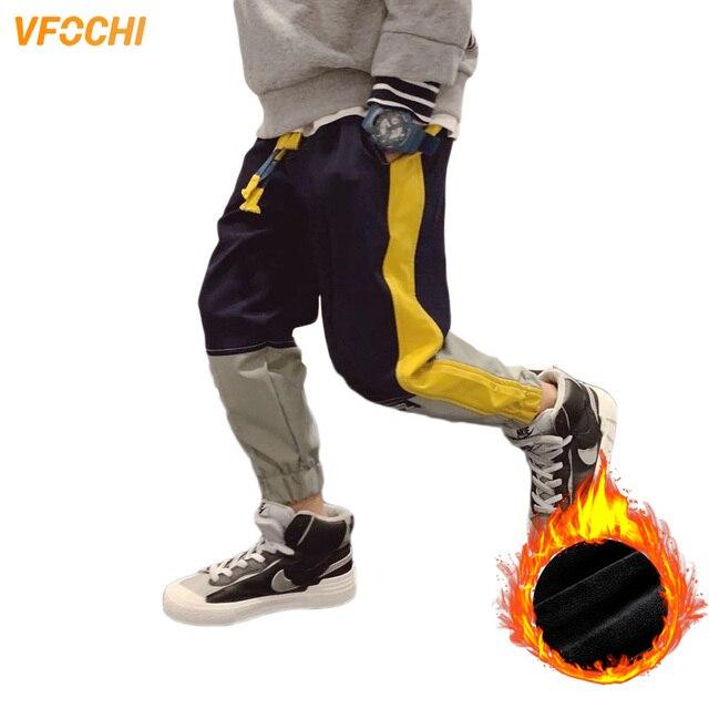 VFOCHI 2020 Boys Pants Winter Patchwork Pencil Pants 3-14T  Kids Trousers Teenager Boy Clothing Elastic Waist Boy Cargo Pants 1