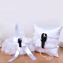 European White Lace Wedding Ring Cushion Pillow & Flower Basket Bridal DIY Marriage Ceremony Decorations