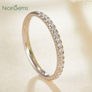 Image 5 - 14K 585 זהב לבן 0.25 CTW דק צרפתית פייב סט Moissanite חתונה טבעת חצי נצח עם 20pcs Moissanite אבן נישואים