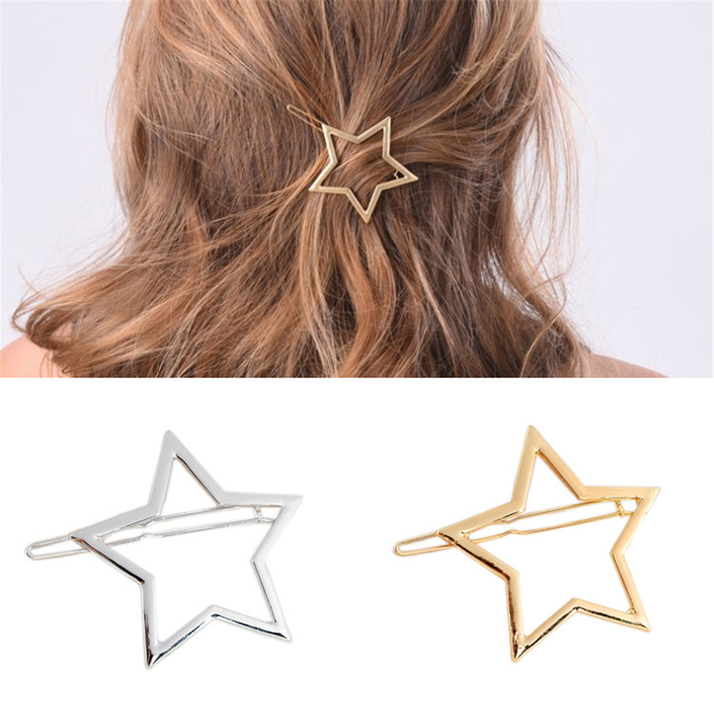 Geometric Hollow  Women Girls Star Heart Hairclip Delicate Hairpin  Metal Hairclips Hair Decoration Jewelry  Hair Accessories