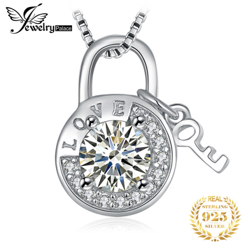 JewelryPalace Round Cubic Zirconia Etched Love Padlock Key Pendant Necklace Without Chain 925 Sterling Silver Fashion