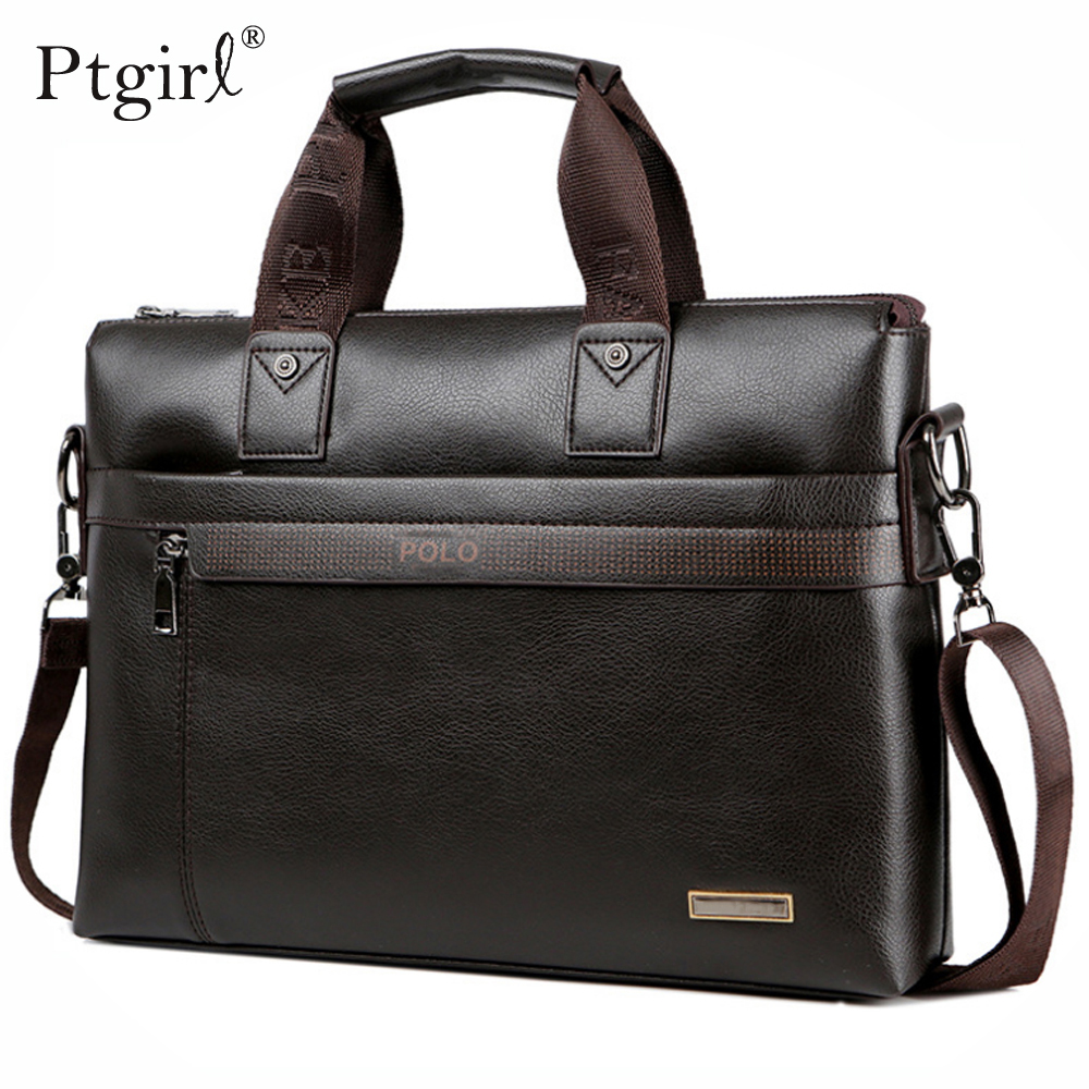 Fashion Simple Dot Famous Brand Business Men Briefcase Bag Ptgirl Leather Laptop Bag Casual Man Bag Shoulder Bags мужские сумки
