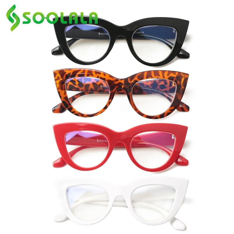 SOOLALA 4 Pairs Mixed Colors Anti Blue Light Cat Eye Reading Glasses Women Cateye Presbyopic Glasses For Sight 1.0 2.0 to 4.0