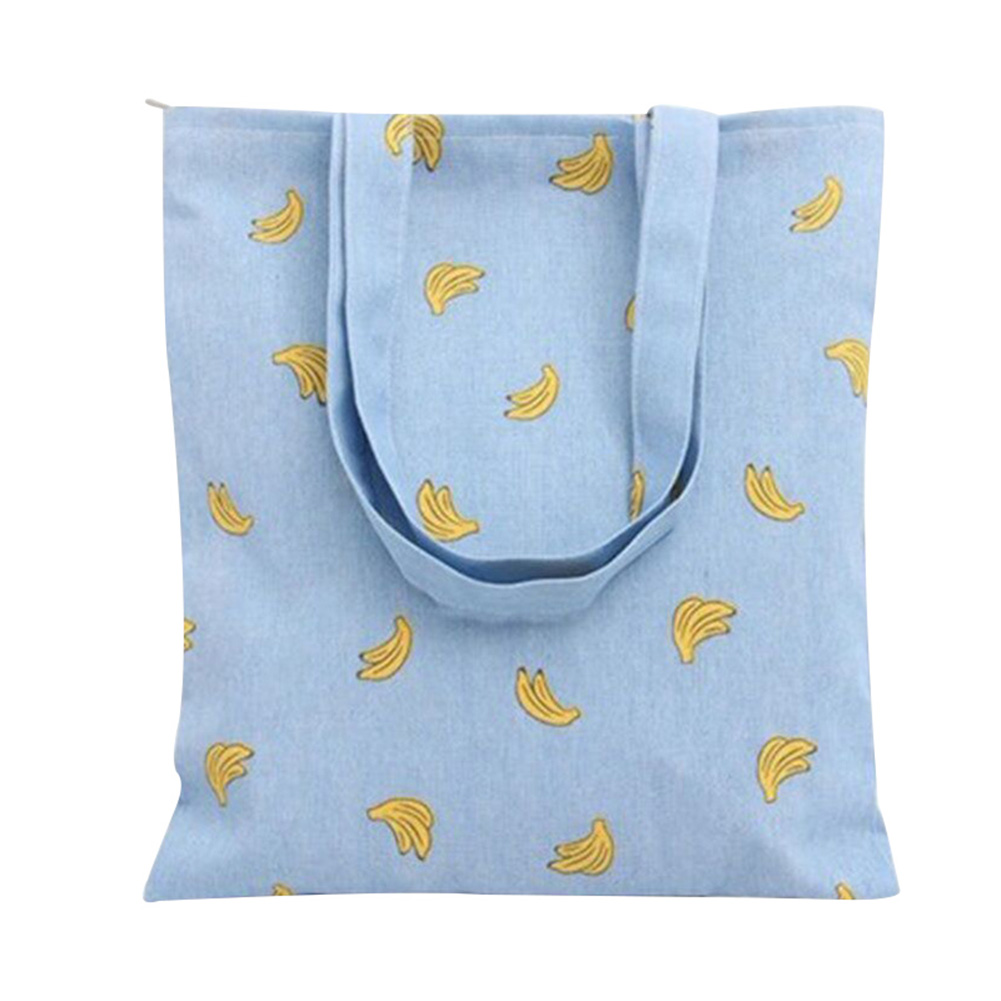 Newest Women Banana Print Blue Canvas Tote Shoulder Bags Shopping Bags