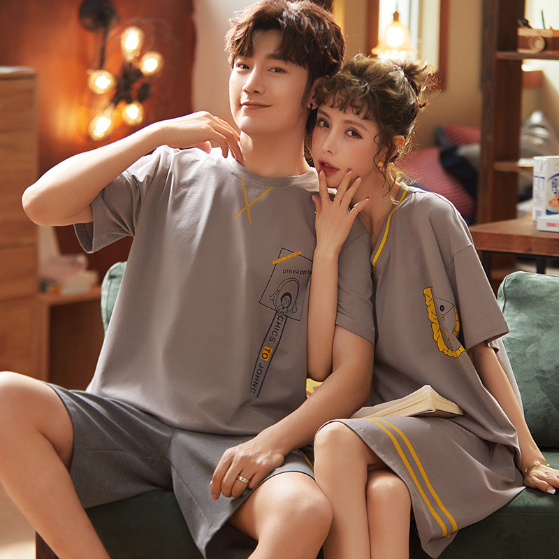 Couple Wear Summer Pajamas Couple Neutral Cotton Soft Pajamas Set Pajamas Men's Pajamas Women's Pajamas Short Sleeves Casual