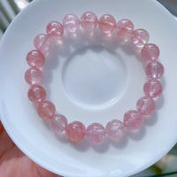 9.1mm Genuine Natural Pink Tourmaline Crystal Bracelet Clear Round Beads Women Crystal Jewelry Candy Tourmaline AAAAAAA 1