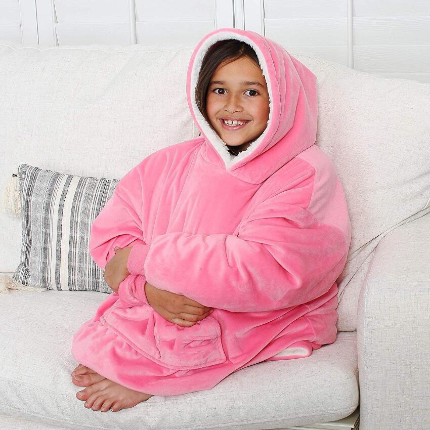 Microfiber Plush Coral Fleece Sherpa Blanket With Sleeves Super Soft Warm Outdoor Pocket Hoodie Kids Winter Hooded TV Blankets