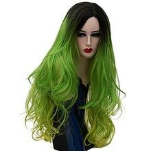 HAIRJOY Frauen Synthetische Haar Ombre Lange Wellenförmige Kostüm Cosplay Perücke Lila Blau Grün Rosa Regenbogen 23 Farben Erhältlich