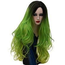 HAIRJOY kobiety syntetyczne włosy Ombre długie faliste kostium peruka do Cosplay fioletowy niebieski zielony różowy Rainbow 23 kolory dostępne
