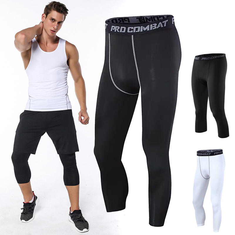 Men Leggings Elastic Breathable Slim Three Quarter Exercise Pants For Basketball KS-shipping