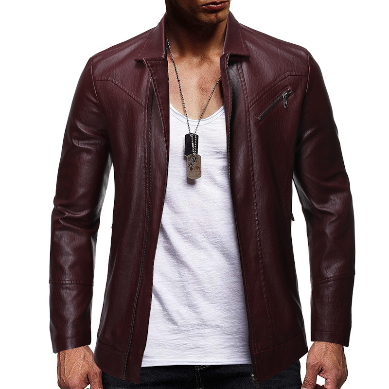 2019 Autumn And Winter New Style Fashion Solid Color Zipper Design MEN'S Leather Coat Locomotive Jacket 1909