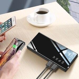 Image 3 - Banco de energía de 30000mAh, espejo, batería externa, pantalla Digital LCD, iluminación LED, cargador de teléfono móvil portátil, Banco de energía ultrafino