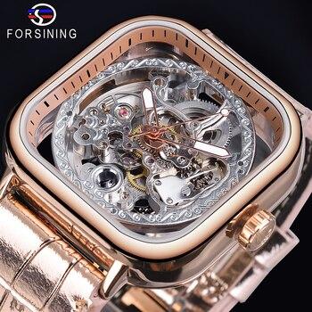 цена Forsining Transparent Skeleton Dial Square Watch Rose Golden Sport Leather Band Watches Luminous Hand Self Winding Mens Clock онлайн в 2017 году