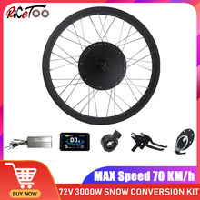 "72V 3000W Electric Bike Conversion Kit Bürstenlosen Nicht-Getriebe Hub Motor Rad Schnee Ebike 20 ""26"" × 4,0 hinten Rad Fett Reifen Kit"