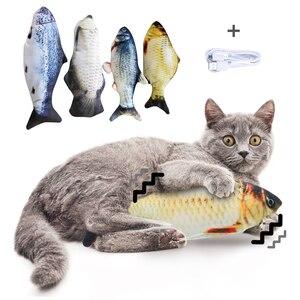 Image 1 - 30 سنتيمتر الحيوانات الأليفة الإلكترونية القط لعبة الكهربائية USB شحن محاكاة الأسماك لعب للكلاب القط مضغ اللعب العض لوازم