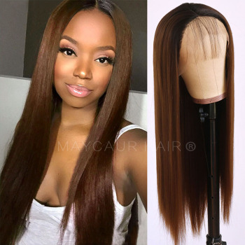Maycaur Brown/Red/Blonde Color Wig Long Straight Synthetic Lace Front Wigs with Natural Baby Hair Soft for Black Women - discount item  36% OFF Synthetic Hair