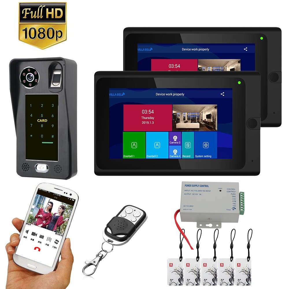7 Inch  2 Monitors  Wifi Wireless Fingerprint IC Card  Video Door Phone Doorbell Intercom System With Wired AHD 1080P  Door Acce
