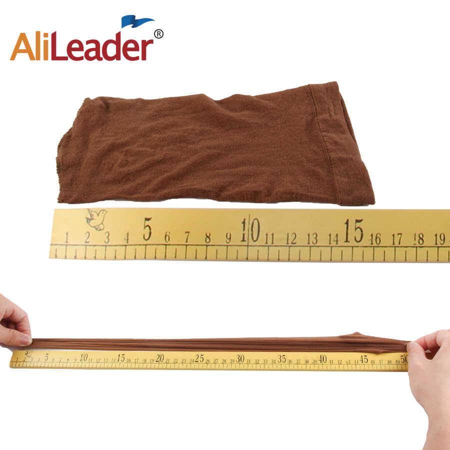 Alileader 2 stks/pak Haar Weven Haar Netto Goedkope Elasticiteit Kous Caps Voor Het Maken Pruiken Polyester Liner Haar Cap Beige Bruin