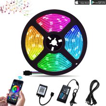 24V 5050SMD RGB LED Strip Light, Kit with 10M(32.8Ft), 300LEDs, Bluetooth APP Controller,CE Adapter, Sync To Music