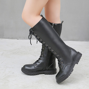 Girls' boots 2019 autumn and winter new children's single boots fashion Korean version of tube boots girls warm two cotton shoes