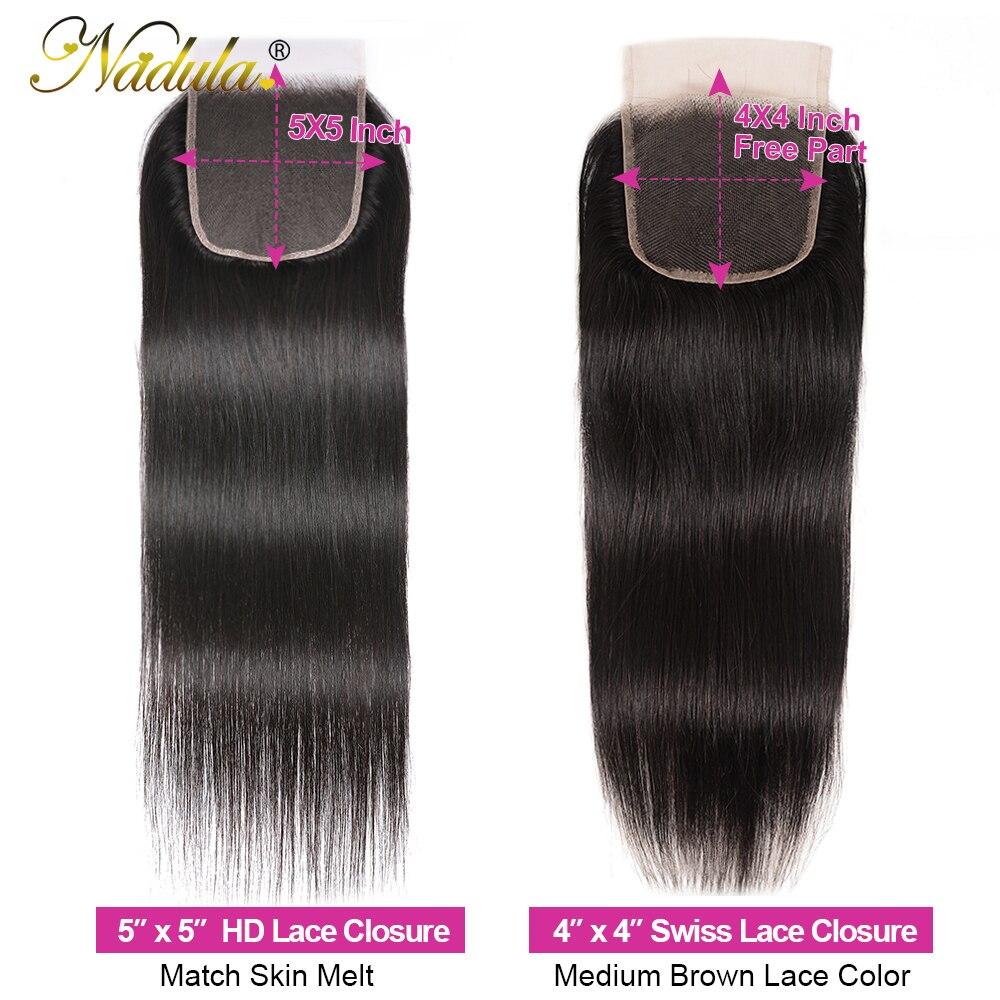 Nadula Hair 5x5 HD lace Closure 10-20inch  Hair Natural Straight Hair Closure  Hair 4*4 Swiss Lace Closure 6