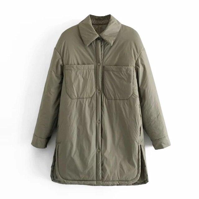 Za Women's Jackets Oversize Parkas Thin Coats Khaki Shirt Coat Long Femme BF Long Sleeves Big Pockets Outerwear Mujer Large Coat 5