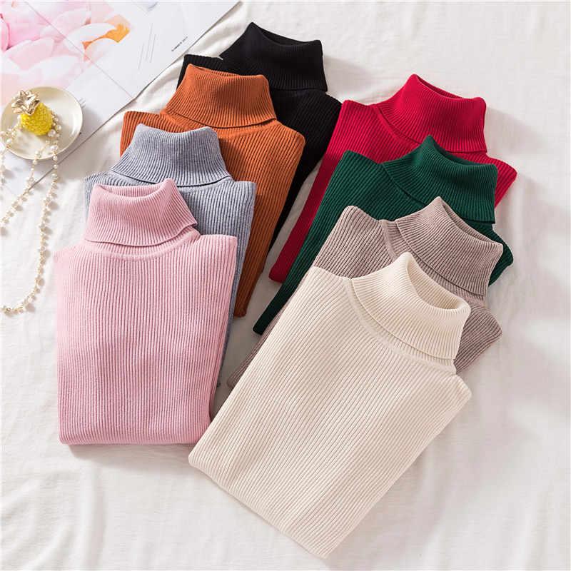 Jersey de punto de cuello alto fino suave de mujer de oficina casual jersey de manga larga de rayas de invierno jersey de punto Delgado jerseys