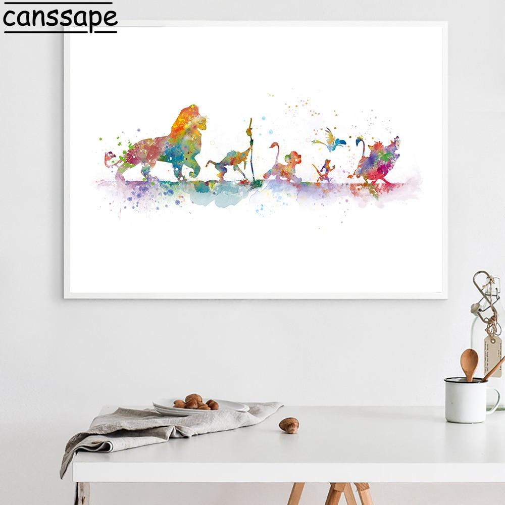 Leão rei cartaz da lona pintura em aquarela impressão dos desenhos animados arte da parede quadros de parede do berçário quarto dos miúdos decoração de casa