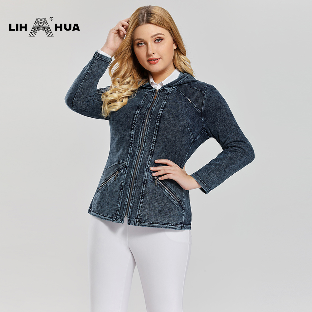 LIH HUA Women's Plus Size Casual Long Style Denim Jacket Premium Stretch Knitted Denim Coat With Shoulder Pads And Hat